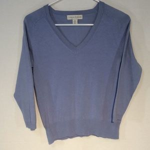 Casual Corner V Neck Sweater 3/4 Sleeve
